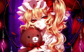 Picture girl, toy, bear, Touhou, Teddy bear, Flandre Scarlet, Touhou, Touhou, Sheya