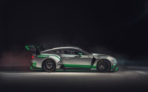 Picture Bentley, Continental, racing car, side view, GT3, 2018