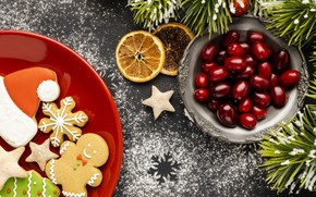Picture berries, cookies, Christmas, New year, new year, Christmas, wood, fruits, berries, cookies, decoration, gingerbread, gingerbread, …