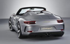 Picture Porsche, rear view, 2018, gray-silver, 911 Speedster Concept