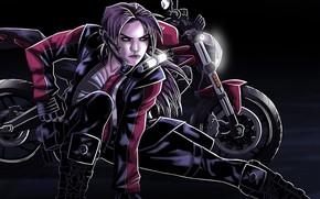 Picture Motorcycle, Lara Croft, Ducati, Art, Bike, Game, Lara Croft, The dark background, Tomb Raider Legend, …