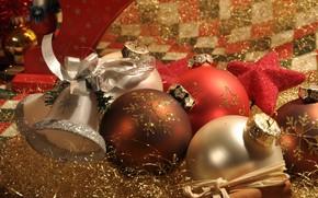 Picture balls, holiday, balls, Christmas, New year, tinsel, bell, Christmas decorations, Christmas decorations, новогодние декорации