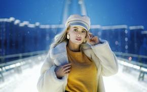 Picture look, snow, winter, blonde, girl, Olga, Sergey Churnosov