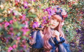 Picture summer, look, girl, light, flowers, nature, face, style, portrait, roses, garden, dress, outfit, horns, Asian, …