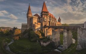 Picture bridge, river, castle, Romania, Romania, Transylvania, Transylvania, Hunedoara, Corvin Castle, The Corvin Castle, Hunedoara, The …