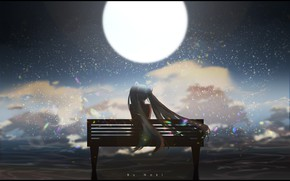 Picture sea, girl, night, the moon, Vocaloid, Hatsune Miku