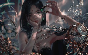 Picture girl, chains, jewerly, Ling Feng