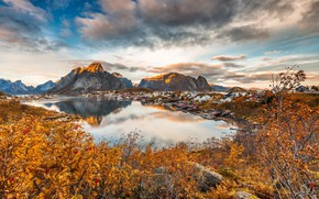 Picture autumn, the sky, clouds, landscape, mountains, nature, reflection, stones, foliage, Norway, houses, pond, Bank, Rowan, …