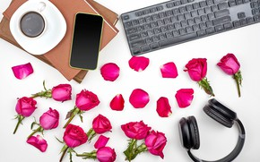 Picture flowers, table, books, coffee, roses, petals, headphones, Cup, keyboard, al, saucer, smartphone