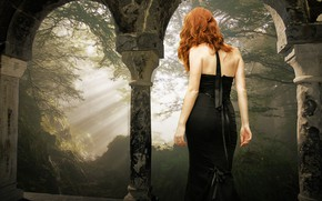 Wallpaper forest, girl, rays, light, branches, nature, pose, fog, style, castle, mood, Gothic, back, treatment, morning, ...