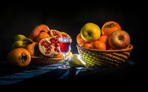 Picture apples, glass, backlight, fruit, bananas, drink, fruit, basket, garnet, tangerines, persimmon
