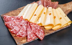 Picture cheese, Board, sausage, bacon, cheese, sausage, ham