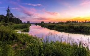 Wallpaper summer, sunset, river