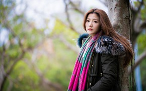 Picture girl, Asian, bokeh