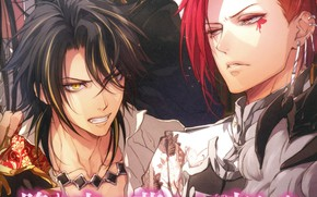 Picture anger, piercing, characters, yellow eyes, red hair, the Queen of flowers, two guys, visual novel, …