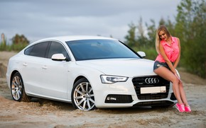 Picture Audi, Girls, beautiful girl, white car, posing on the hood