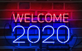 Picture neon, happy new year, neon sign, my works, 2020 new year