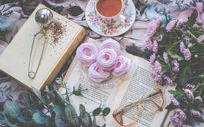 Picture flowers, tea, books, marshmallows