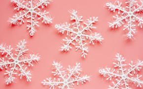 Picture winter, snowflakes, background, pink, Christmas, pink, winter, background, snowflakes
