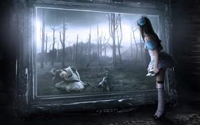 Picture girl, fantasy, Alice in Wonderland, trees, gothic, digital art, artwork, fantasy art, mirror, spooky, fantasy …