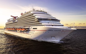 Picture The ocean, Sea, The ship, Rendering, Passenger ship, Passenger liner, Vessel, Cruise liner, Cruise Line, …