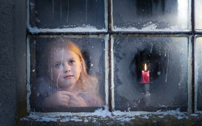 Picture candle, window, girl