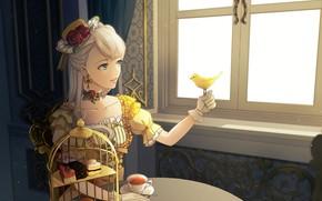 Picture girl, bird, tea, the tea party, bird, lady