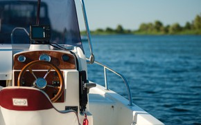 Picture river, boat, yacht, the wheel, cockpit, motor boat
