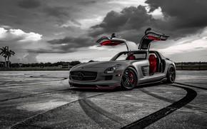 Wallpaper Mercedes, AMG, SLS, Evening, Graphite