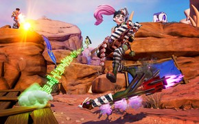 Picture girl, mountains, weapons, guy, Rocket Arena
