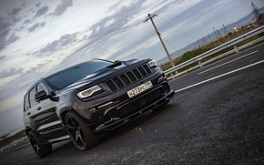 Picture road, sunset, srt, road, srt8, jeep, jeep grand cherokee, jeeper, jeep srt, ingushetia, Ingushetia, Nazran, …