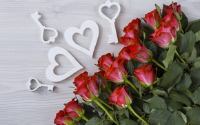 Picture love, flowers, holiday, bouquet, hearts