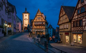 Picture Germany, Bayern, Church, streets, Rothenburg