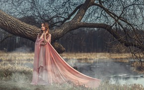 Picture look, girl, nature, pose, river, tree, model, dress, beauty