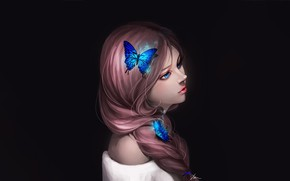 Picture Girl, Art, Style, Background, Minimalism, Characters, Butterfly