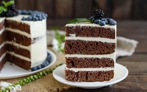 Picture berries, blueberries, cake, cream, wood, BlackBerry, napkin, chocolate