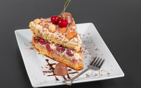 Picture cherry, chocolate, plate, candy, cake, nuts, sweet, chocolate, cherry, cakes