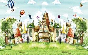 Picture clouds, trees, butterfly, birds, balloons, figure, fairy, art, houses, fabulous city, summer fairy
