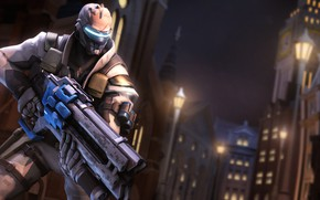 Picture night, the city, rendering, mask, soldiers, overwatch, soldier 76, jack morrison