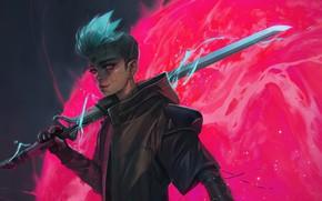 Picture sword, fantasy, robot, weapon, science fiction, red eyes, sci-fi, digital art, artwork, warrior, fantasy art, …