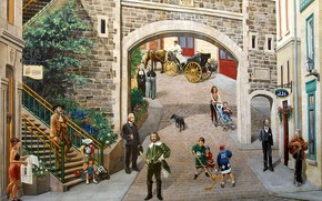 Picture Canada, QC, Place Royale, wall painting