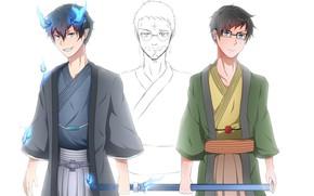 Picture sword, Yukio Okumura, Rin Okumura, Blue Exorcist, Ao No Exorcist