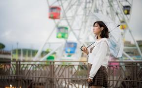 Picture girl, umbrella, Asian, bokeh