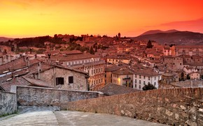 Picture roof, sunset, home, Italy, panorama, glow, Perugia