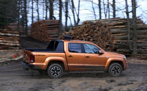 Picture squirt, speed, Volkswagen, dirt, pickup, logs, Amarok, Double Cab, Canyon, 2016
