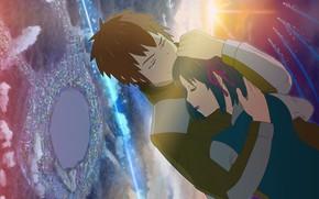 Picture girl, romance, Sunset, anime, art, guy, two, Kimi no VA On