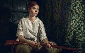 Picture girl, girl, rifle, rifle, Sergey Rehob