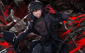 Picture red, smile, black, the game, anime, art, knife, dagger, guy, person, Person 5