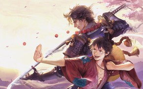 Picture sword, guys, One Piece, Portgas D. Ace, Monkey D. Luffy