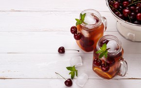 Picture ice, cherry, drink